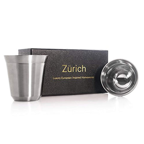 Espresso Cups 80mL - 2 x Double Wall Stainless Steel Espresso Cup by Zurich. Vacuum insulated. 80ml (2.7-oz) alternative for DeLonghi, Bodum and Nespresso Cups. (Silver)