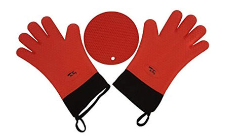 "Silicone Heat Resistant Oven Mitts| Waterproof | Insulated Internal Cotton Layer | Full Wrist Protection| Cooking Gloves | 14"" Long x 7.5 Wide