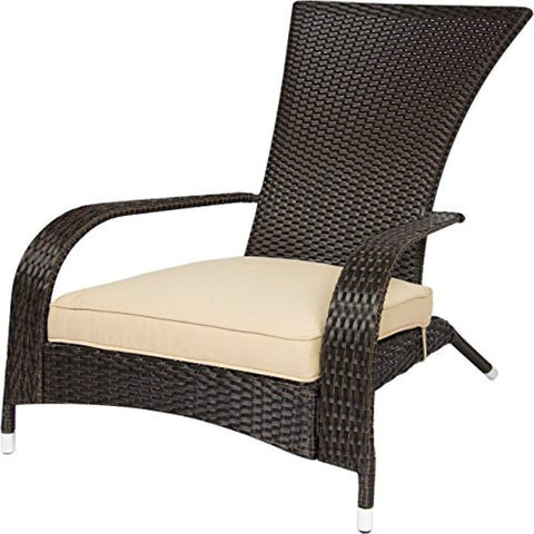 Best Choice Products All-Weather Wicker Adirondack Chair for Backyard, Patio, Porch, Deck - Beige