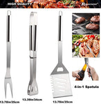 ROMANTICIST 19Pc Heavy Duty Stainless Steel BBQ Grill Tool Accessories Set - Outdoor Camping Barbecue Grilling Utensils Gift Kit with Aluminum Case for Men Dad