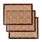 "Seamersey Silicone Baking Mat Sheet Set - Set of 3 Sheet - Non-Stick Silicon Liner for Bake Pans & Rolling with Measurements - Macaron/Pastry/Cookie/Bun/Bread Making(16"" x 11.5"", Brown)"