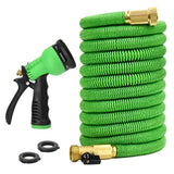 Glayko Tm 100 Feet Expandable Garden Hose - NEW 2018 Super Strong Construction- Strong Webbing -Solid Brass End + 8 Function Spray Nozzle and Shut-off Valve