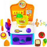 FUNERICA My First Toy Oven and Play Stove Cook-Top | with Shape Sorter Pieces and Cutting Vegetables Toy Set - Compact Play Kitchen for Young Kids Boys and Girls