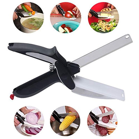 Food chopper, built-in cutting board - fast and easy to cut food scissors for kitchen and picnic - vegetable slicer