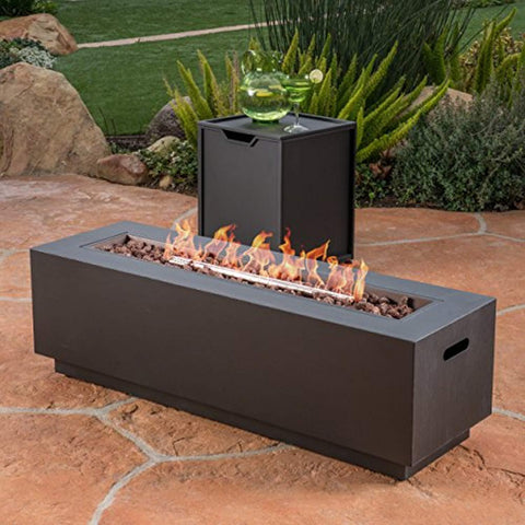 Great Deal Furniture Jasmine Outdoor Dark Grey Finish Iron Rectangular Fire Pit - 50,000 BTU