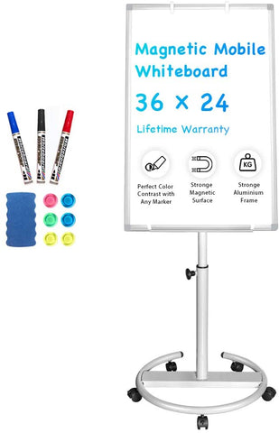 Maxtek Mobile Whiteboard – 36 x 24 inches Portable Magnetic Dry Erase Board Stand Easel White Board Dry Erase Easel Standing Board w/Flipchart Hooks