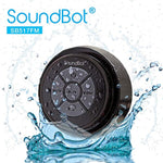 SoundBot SB517FM IPX7 Water-Proof Bluetooth Speaker with FM Radio Speaker (Black/Black)
