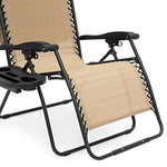 Best Choice Products Oversized Zero Gravity Reclining Lounge Patio Chair w/Folding Canopy Shade and Cup Holder - Navy