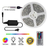 LED Strip Lights with Remote 5M 16.4 Ft 5050 RGB Flexible Color Changing Full Kit with RF Mini Controller, 12V 2A Power Supply for Home & Kitchen and Indoor Decoration