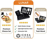 LUNAR Premium 6-Piece Cheese Knife Set - Complete Stainless Steel Cheese Knives Collection