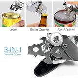 BANGSHOU Can Opener, Manual Bottle Tin Opener Smooth Edge Heavy Duty Stainless Steel with Anti-slip Hand Grip