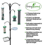 "Gray Bunny GB-6844 Premium Bird Feeding Station Kit, 22"" Wide x 91"" Tall (82 inch Above Ground) Black, A Multi Feeder Hanging Kit & Bird Bath for Attracting Wild Birds, Birdfeeder and Planter Hanger"