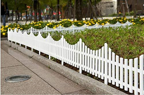 Jumbl Decorative 8 Piece White Picket Garden Fence Border