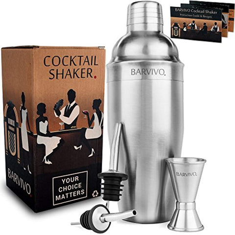 Barvivo Professional Cocktail Shaker Set w/a Double Jigger & 2 Liquor Pourers 24oz Martini Mixer Made of Brushed Stainless Steel Perfect for Mixing Margarita, Manhattan & Other Drinks at Home.
