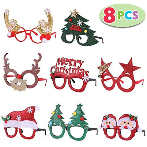 Pack of 8 Christmas Party Fancy Glasses Frames with 8 Designs Christmas Parties and Photo booth(ONE SIZE FIT ALL)