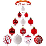 Teresa's Collections 155ct Traditional Shatterproof Christmas Ball Ornaments Decoration Red White,1.2Inch-7.09Inch,Themed Tree Skirt(Not Included)