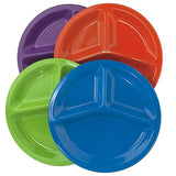 "| Set of 12 | Premium Quality Unbreakable Plastic 10"" Divided Plates in 4 Assorted Colors"