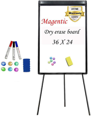 Maxtek Easel White Board - Magnetic Tripod Whiteboard Portable Dry Erase Board 36x24 inches Flipchart Easel Board Height Adjustable, Stand White Board