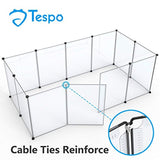 Tespo Dog Playpen, Portable Large Plastic Yard Fence Small Animals, Popup Kennel Crate Fence Tent, Transparent White 12 Panels