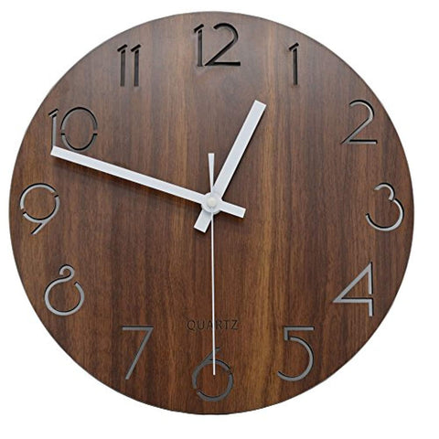 "jomparis 12"" Vintage Arabic Numeral Design Rustic Country Tuscan Style Wooden Decorative Round Wall Clock"