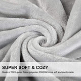 EMONIA Luxury Fleece Blanket,330GSM - King Size Blankets Super Soft Warm Fuzzy Lightweight Bed & Couch Blanket(Grey,90 x 108 inch)
