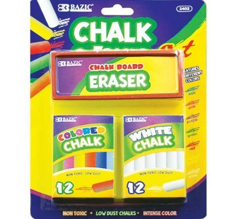 2 Pack - BAZIC 12 Color and 12 White Chalk with Eraser Sets, Assorted by Bazic