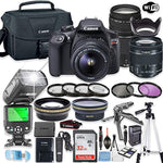 Canon EOS Rebel T6 DSLR Camera Bundle w/Canon EF-S 18-55mm is II Lens & EF 75-300mm f/4-5.6 III Lens + 32GB Sandisk Memory + Canon Case + TTL Speedlight Flash (Good Upto 180 Feet) + Accessory Bundle