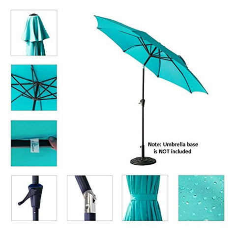 C-Hopetree 11' Patio Outdoor Market Umbrella with Crank Winder, Fiberglass Rib Tips, Push Button Tilt, Aqua Blue