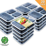 Enther 20 Pack 3 Compartment Meal Prep Containers with Lids,Food Storage Bento, BPA Free,Reusable Lunch Box,Microwave/Dishwasher/Freezer Safe,Portion Control,New Version,36oz
