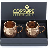 COPPure Moscow Mule Copper Mugs Set of 2 - Pure 100% Solid Hammered, Unlined Copper Cups For Icy Cold Cocktails - Recipes Included - Makes A Perfect Gift