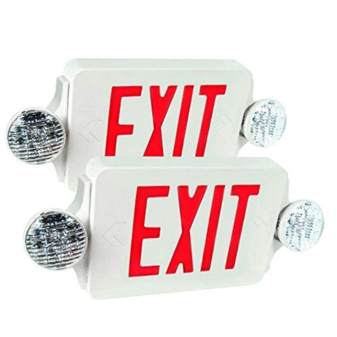 eTopLighting 2 Packs of LED Red Exit Sign Emergency Light Combo with Battery Back-Up UL924 ETL listed, EL2BR-2