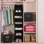Magicfly Hanging Closet Organizer, 6-Shelf Hanging Clothes Storage Box Collapsible Accessory Shelves Eco- Friendly Closet Cubby, Sweater & Handbag Organizer, Easy Mount, Black