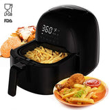 Power Air Fryer Oven, Rackaphile 3.7 Qt Electric Air Fryer XL Airfryer No Oil with Digital LED Touch Screen, 8 Preset Settings, Temperature Timer Control, 360° Rapid Hot Air Technology, Oil-Free and Healthy, for Home Kitchen Meals, Black
