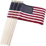 "Set of 12 Bulk American Flags: 12"" x 18"" Small American Flags on Wooden Sticks from Darice"