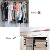 Clothes Pants Hangers 2pack - Multi Layers Metal Pant Slack Hangers,Foam Padded Swing Arm Pants Hangers Closet Storage Organizer for Pants Jeans Scarf Hanging(Black)