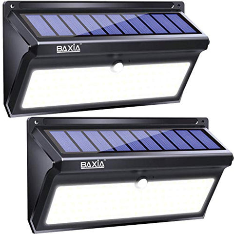 BAXIA Technology Solar Lights Outdoor, Wireless 100 LED Solar Motion Sensor Lights Waterproof Security Lighting Outdoor for Front Door, Backyard, Steps, Garage, Garden(2000LM, 2PACK)
