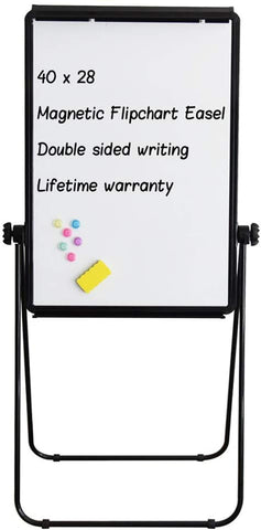 Maxtek Stand White Board - 40x28 Magnetic Dry Erase Board Flipchart Board Double Sided Easel Board Portable Whiteboard