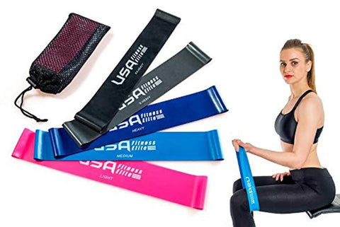Resistance Loop Bands Set of 5 by USA Fitness Elite – Color Coded, 5 Resistance Options, Durable & Lightweight + Free Carry Bag! Extra Long Bands, 12Inch Exercise Band, Workout without a Gym – Quality Latex Retains its Elasticity. Get the Body you Want! B