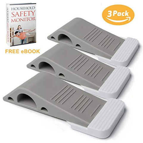 Door Stopper Rubber Door Stop 3 Pack Set With Holders Heavy Duty Flexible Non-toxic Premium Rubber Door Non Scratching Strong Grip Wedge Works On All Surfaces Like Cement,Wood,Tile,Carpet Free eBook