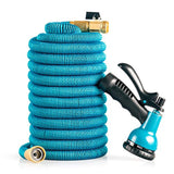 Expandable, Flexible and Retractable Garden Hose: 50 Foot Lightweight No Kink Hose with Solid Brass Fittings and 8-Pattern High Pressure Spray Nozzle
