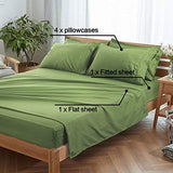 EMONIA Twin XL Sheets Set - 4 Pieces Bed Sheets-Microfiber Super Soft 1800 Series Deep Pocket Fitted Sheets-Wrinkle and Fade Resistant (Green, Twin XL)