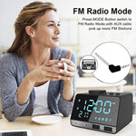 SAPE Alarm Clock for Bedrooms with Dual Alarm, Snooze, Bluetooth Speaker, FM Radio, AUX TF Card Play, Dual USB Charger Port, Temperature Function