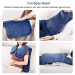 Fitfirst 33 x 15'' Heating Pad for Neck Shoulder and Back Pain Relief, Ultra Soft Flannel Electric Heat Therapy pad with Fixation Strap, 4 Heat Settings, Machine Washable, Auto Shut Off Sapphire Blue