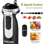 Aicok Immersion 4-in-1 Stick Blender with 6 Speed Control, Powerful Hand Mixer Sets Include Chopper, Whisk, Bpa Free Beaker