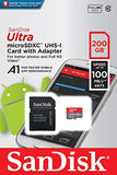 Sandisk Ultra 200GB Micro SDXC UHS-I Card with Adapter - 100MB/s U1 A1 - SDSQUAR-200G-GN6MA