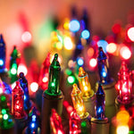 Holiday Essence - Set of 140 Multi-Color Chasing Lights - UL Certified - 8 Function Controller/Chaser - Green Wire - Indoor Use