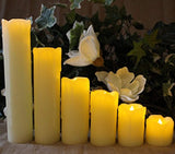 "LED Lytes Timer LED Candles - Slim Set of 6, 2"" Wide and 2""- 9"" Tall, Ivory dripping Wax and Flickering Amber Yellow Flame Battery Operated Electric Candle"