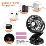 Battery Operated Stroller Fan Clip on Table Fan 40+ Hours Desk Fan Quiet Fan 360° Rotation 4400mah With Power Bank Function Mini Fan for Outdoor Sports Activities