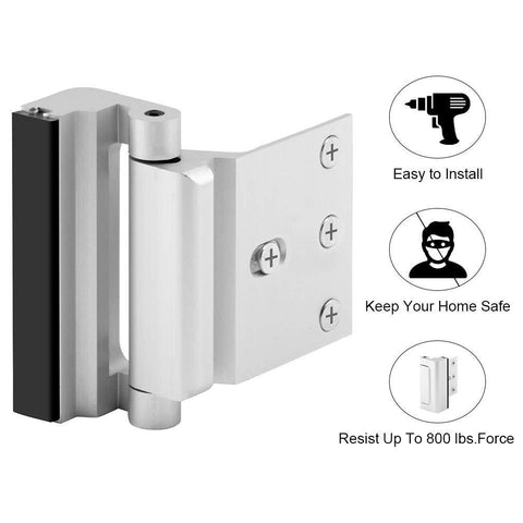 "Home Security Door Lock, 2 Pack Upgrade Easy Unlock Childproof Door Reinforcement Lock with 3"" Stop Withstand 800 lbs for Inward Swinging Door, Add Extra Lock to Defend Your Home Safe"