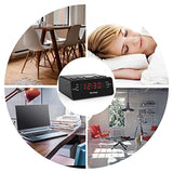 "Alarm Clock Radio, Digital Alarm Clock with AM/FM Radio, Sleep Timer, Dimmer, Snooze, 0.6"" Digital LED Display and Battery Backup Function"